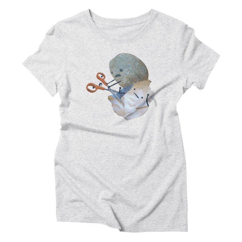 Rock vs. Paper vs. Scissors Women's T-Shirt by Akaka