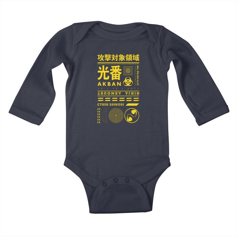 AKBAN Yellow Hazard Kids Baby Longsleeve Bodysuit by AKBAN Core Official