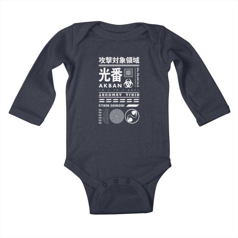 AKBAN White Cyberpunk hazard - Attack Surface Kids Baby Longsleeve Bodysuit by AKBAN Core Official