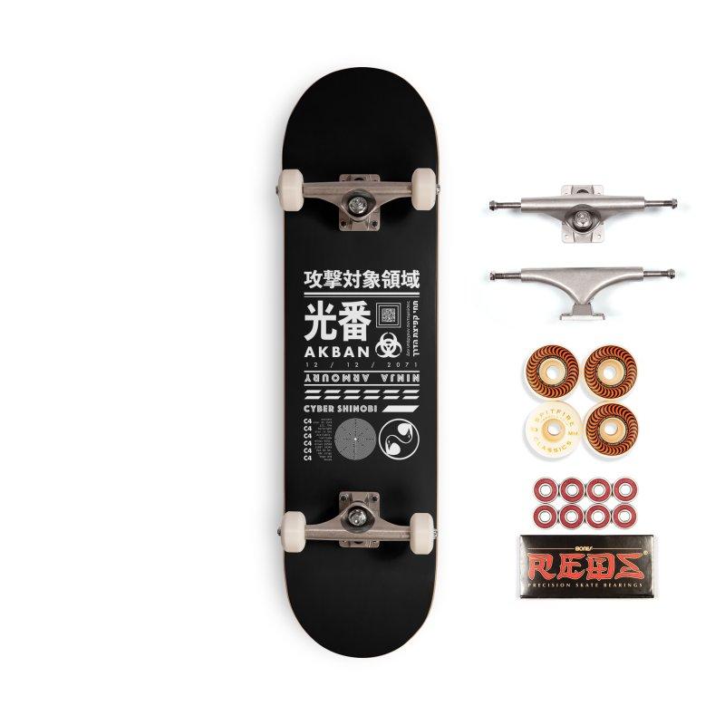 AKBAN White Cyberpunk hazard - Attack Surface Accessories Skateboard by AKBAN Core Official