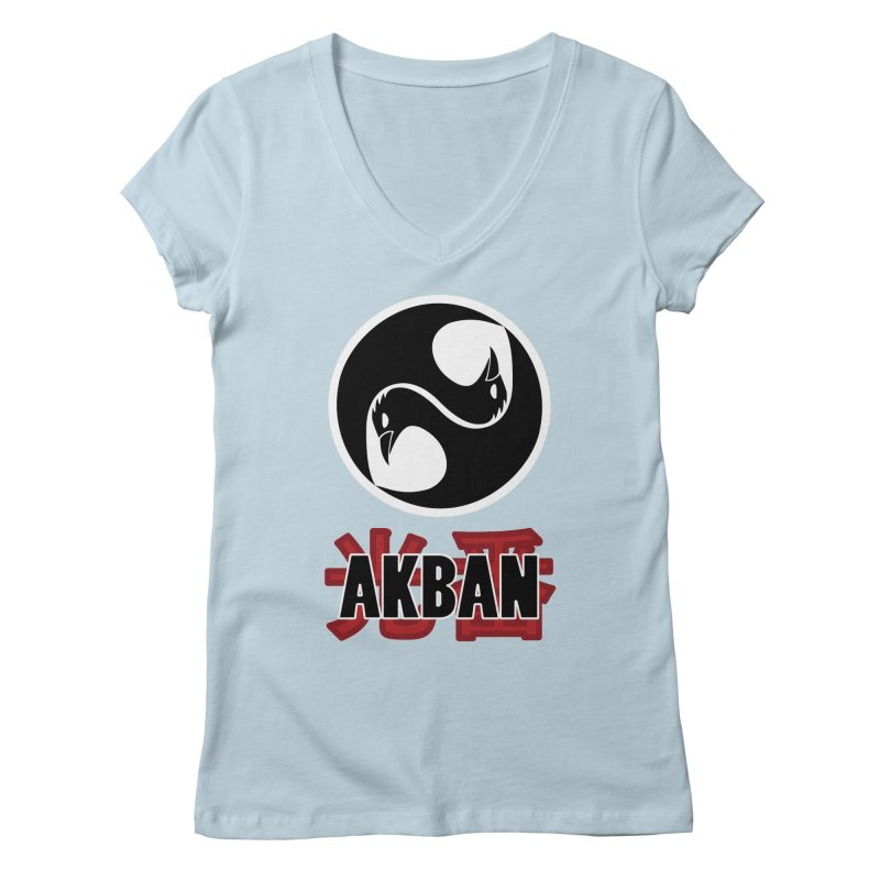 Huge AKBAN logo for big hearted warriors Women's V-Neck by AKBAN Core Official