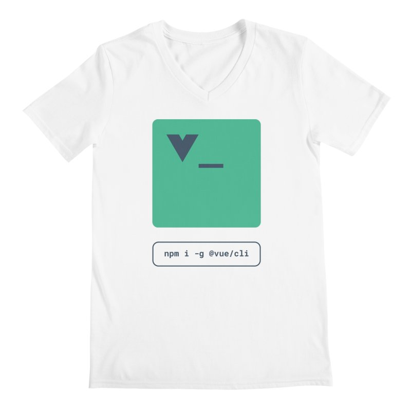 vue-cli in Men's Regular V-Neck White by Akryum's Shop