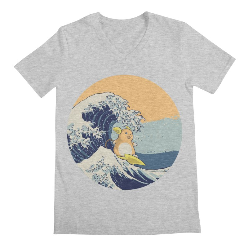 Surfin' Kanagawa Men's V-Neck by Stuff, By Alan Bao