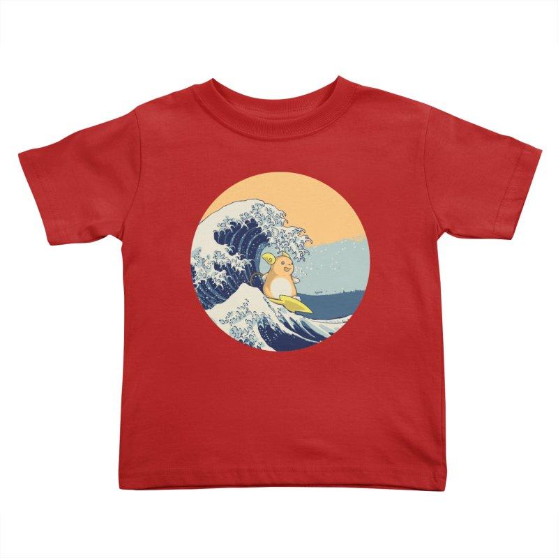 Surfin' Kanagawa Kids Toddler T-Shirt by Stuff, By Alan Bao