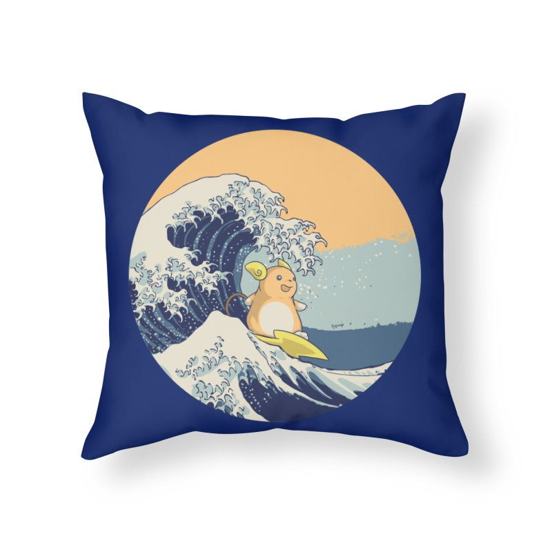 Surfin' Kanagawa Home Throw Pillow by Stuff, By Alan Bao