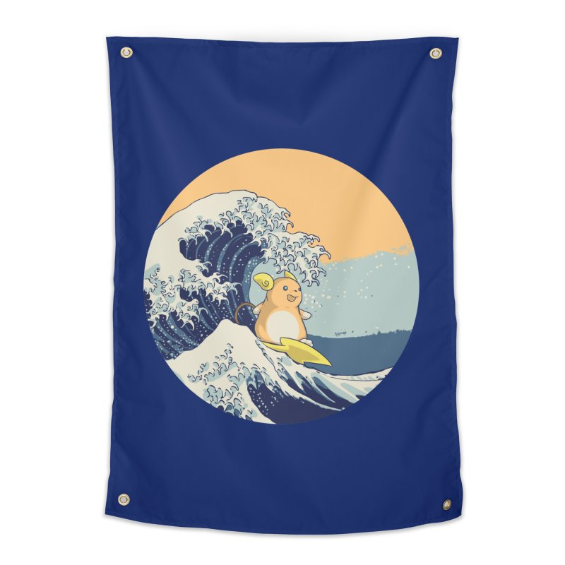Surfin' Kanagawa Home Tapestry by Stuff, By Alan Bao
