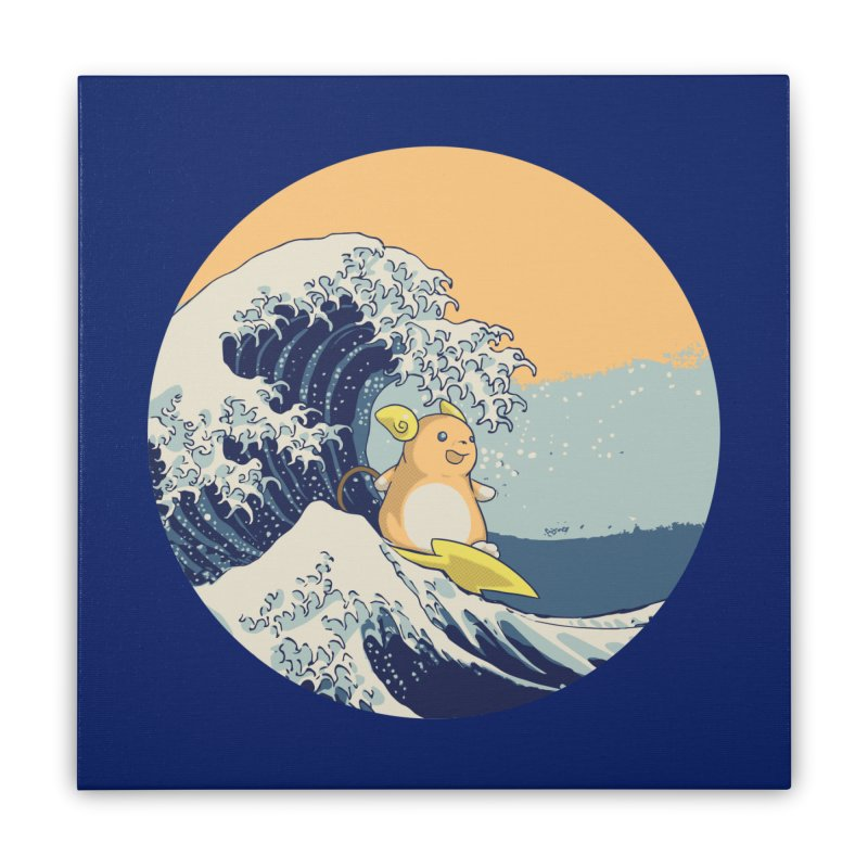 Surfin' Kanagawa Home Stretched Canvas by Stuff, By Alan Bao