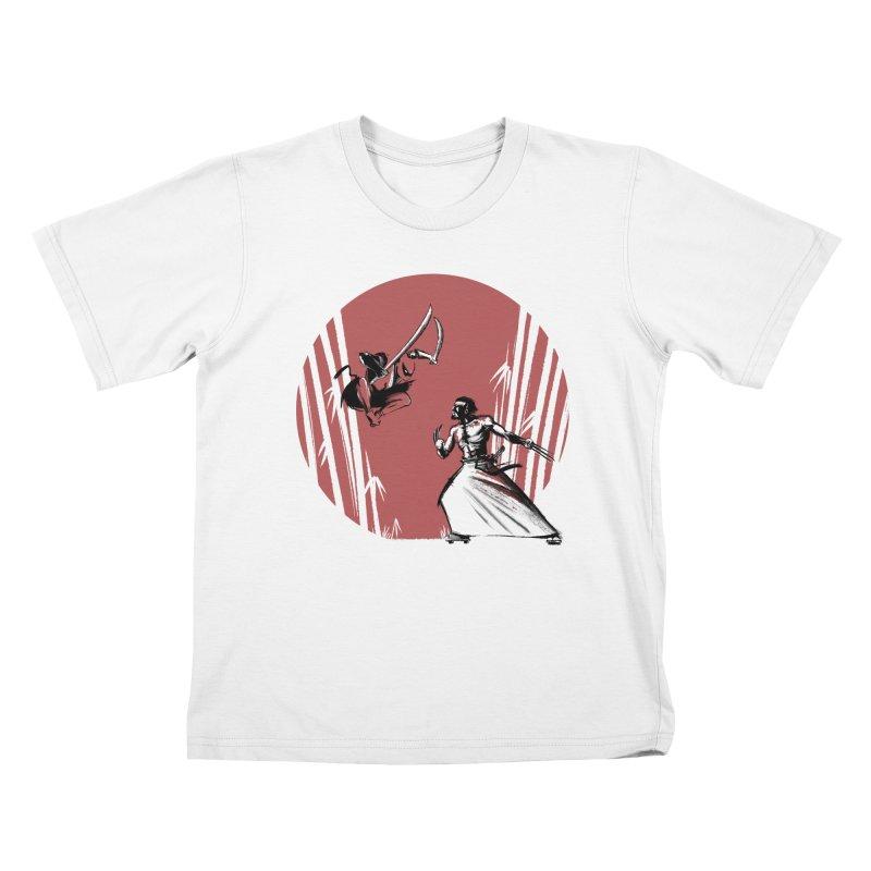 Mouthy Ninja vs Immortal Samurai Kids T-shirt by Stuff, By Alan Bao