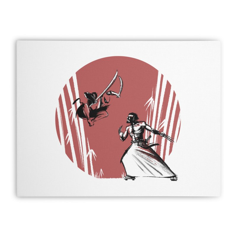 Mouthy Ninja vs Immortal Samurai Home Stretched Canvas by Stuff, By Alan Bao