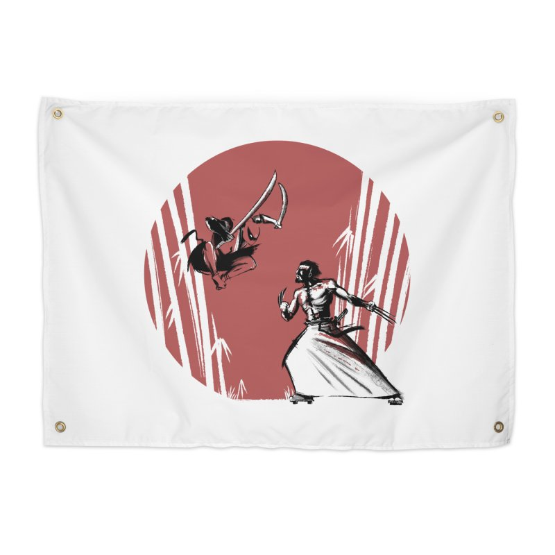 Mouthy Ninja vs Immortal Samurai Home Tapestry by Stuff, By Alan Bao