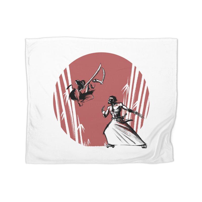 Mouthy Ninja vs Immortal Samurai Home Blanket by Stuff, By Alan Bao