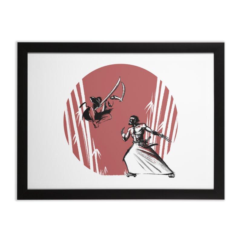 Mouthy Ninja vs Immortal Samurai Home Framed Fine Art Print by Stuff, By Alan Bao