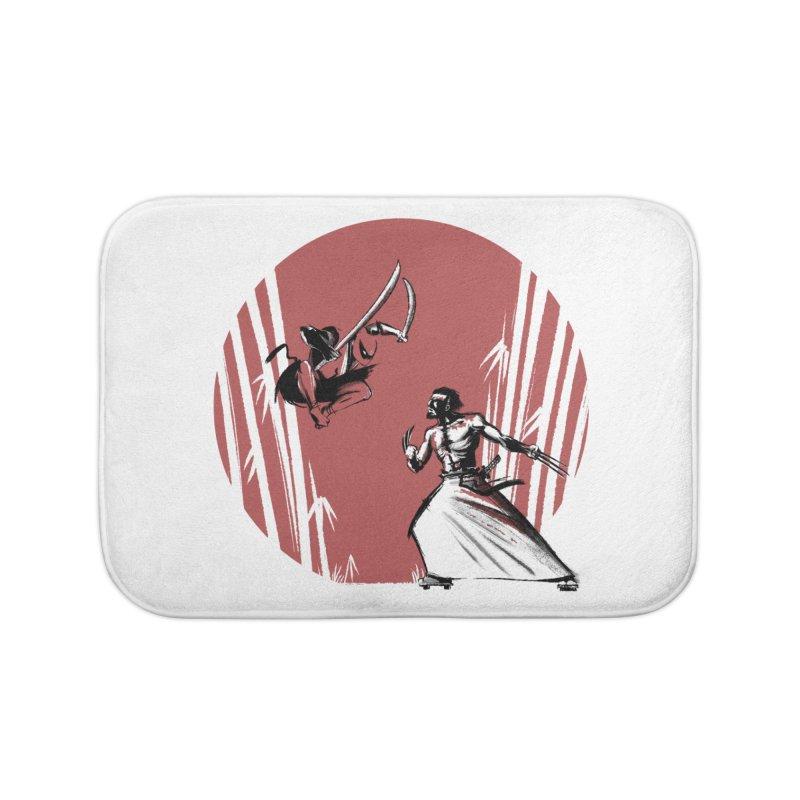 Mouthy Ninja vs Immortal Samurai Home Bath Mat by Stuff, By Alan Bao