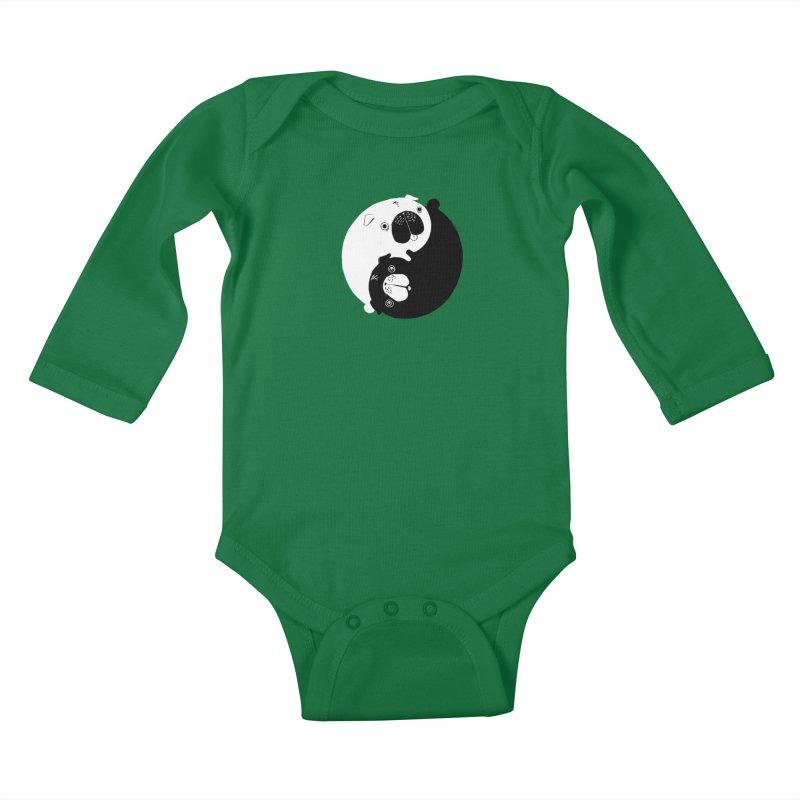 Yin Yang Pugs Kids Baby Longsleeve Bodysuit by Stuff, By Alan Bao