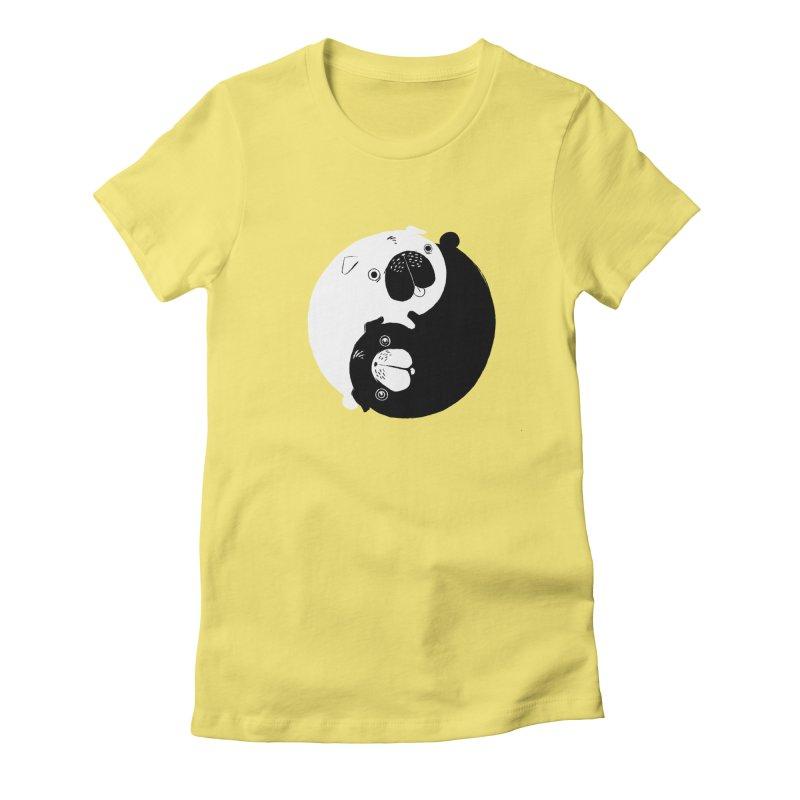 Yin Yang Pugs Women's Fitted T-Shirt by Stuff, By Alan Bao