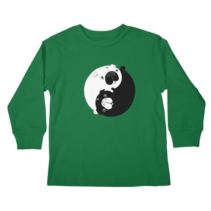 Yin Yang Pugs Kids Longsleeve T-Shirt by Stuff, By Alan Bao