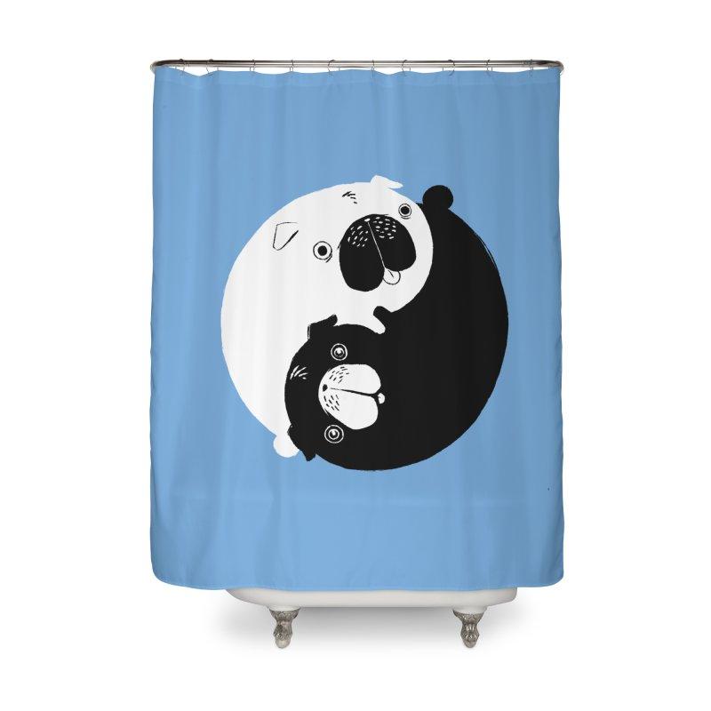 Yin Yang Pugs Home Shower Curtain by Stuff, By Alan Bao