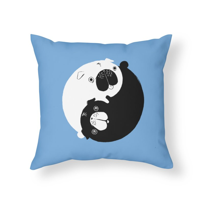 Yin Yang Pugs Home Throw Pillow by Stuff, By Alan Bao
