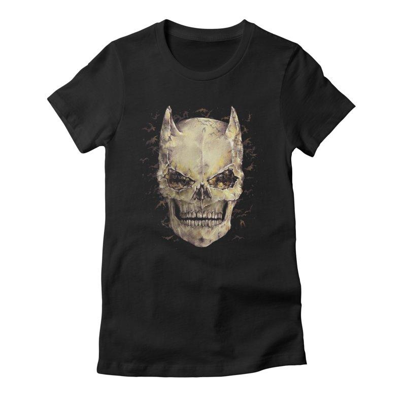 Bat Skull Women's Fitted T-Shirt by alanmaia's Artist Shop