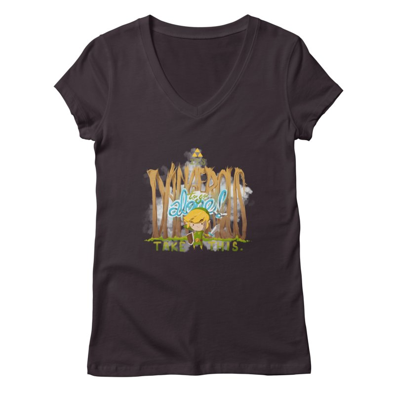 It's Dangerous To Go Alone Women's V-Neck by Alberto Arni's Artist Shop