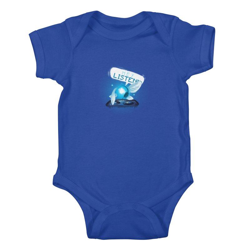 Hey Listen! Kids Baby Bodysuit by Alberto Arni's Artist Shop