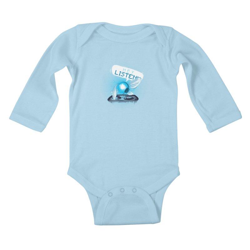 Hey Listen! Kids Baby Longsleeve Bodysuit by Alberto Arni's Artist Shop
