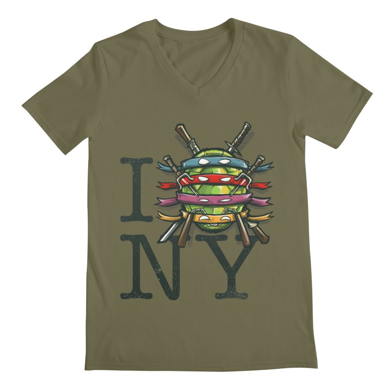 I (Turtle) NY Men's V-Neck by Alberto Arni's Artist Shop