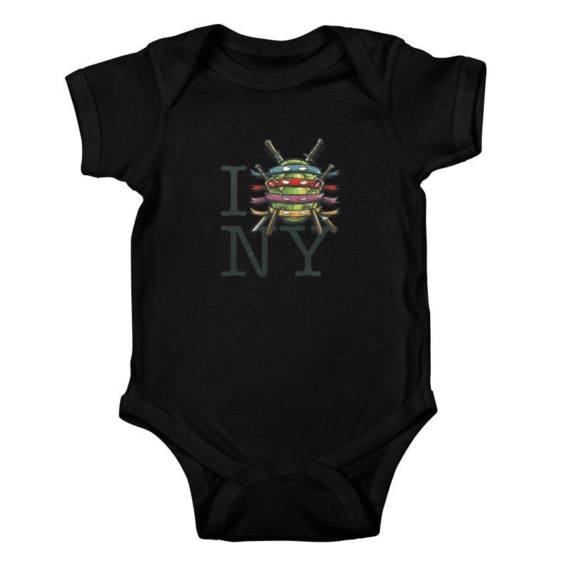 I (Turtle) NY Kids Baby Bodysuit by Alberto Arni's Artist Shop