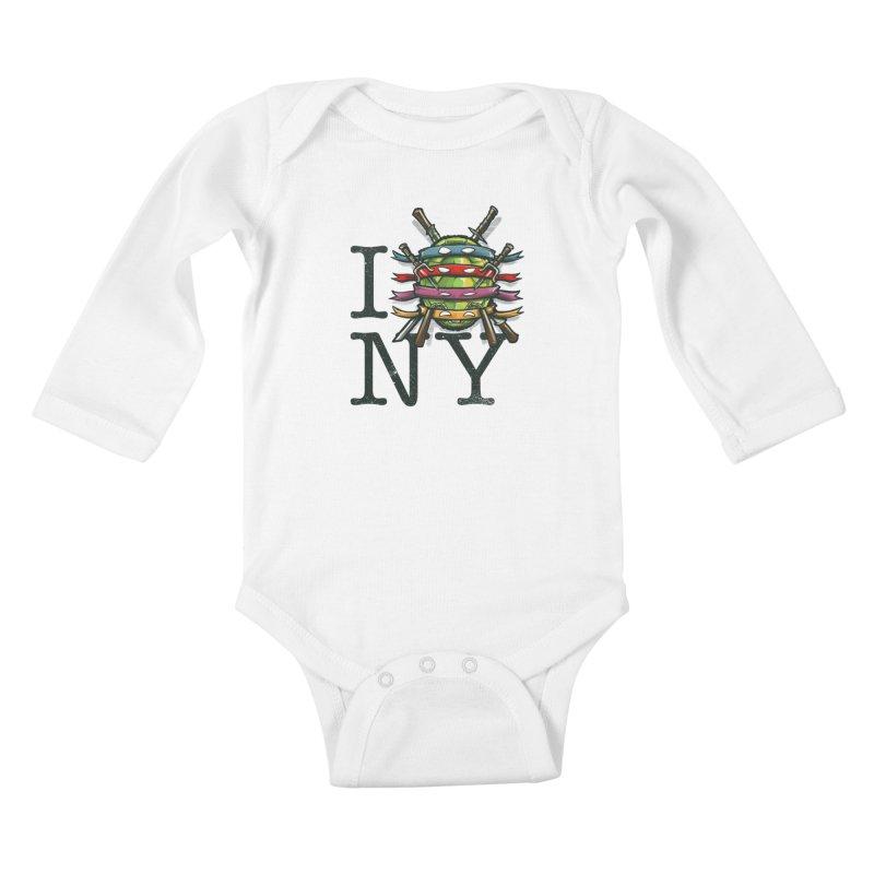 I (Turtle) NY Kids Baby Longsleeve Bodysuit by Alberto Arni's Artist Shop