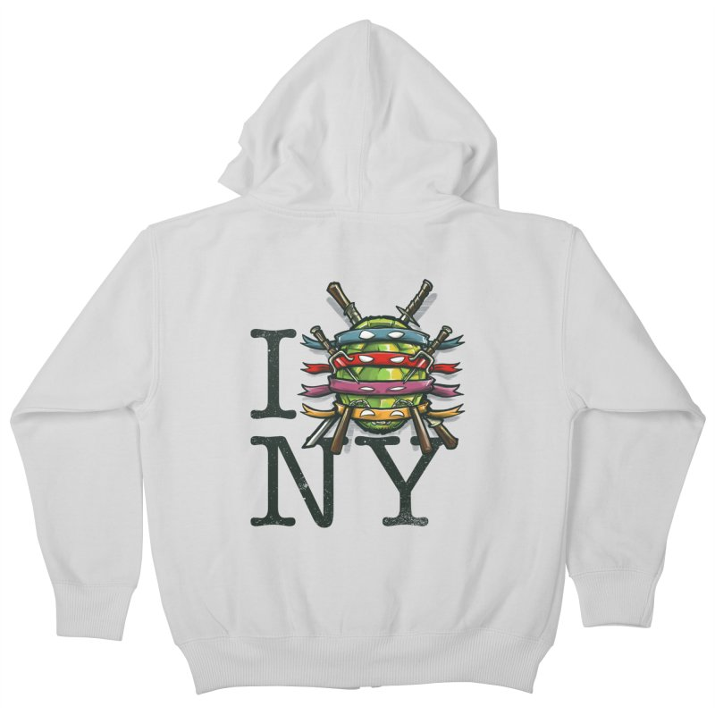 I (Turtle) NY Kids Zip-Up Hoody by Alberto Arni's Artist Shop