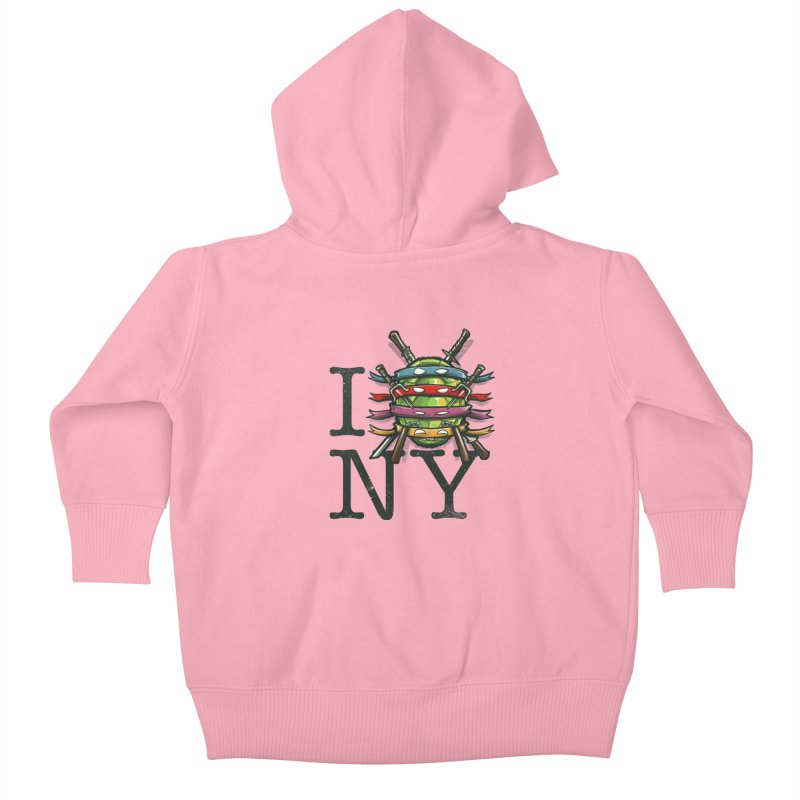 I (Turtle) NY Kids Baby Zip-Up Hoody by Alberto Arni's Artist Shop