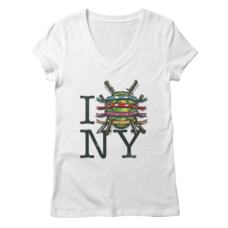 I (Turtle) NY Women's V-Neck by Alberto Arni's Artist Shop