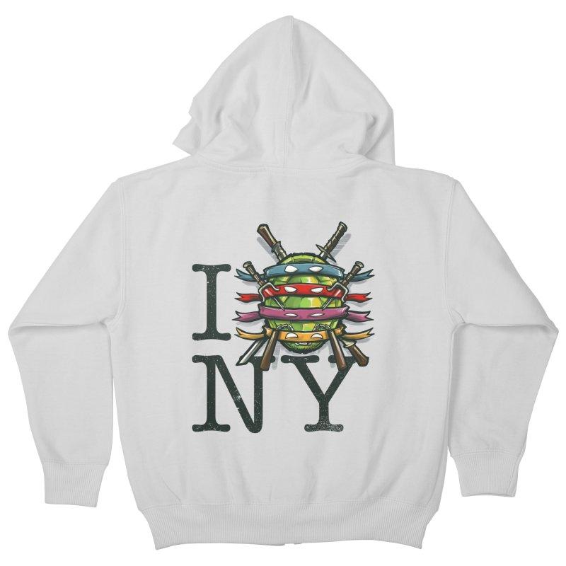 I (Turtle) NY Kids Zip-Up Hoody by Alberto Arni's Artist Shop