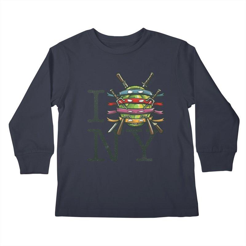 I (Turtle) NY Kids Longsleeve T-Shirt by Alberto Arni's Artist Shop