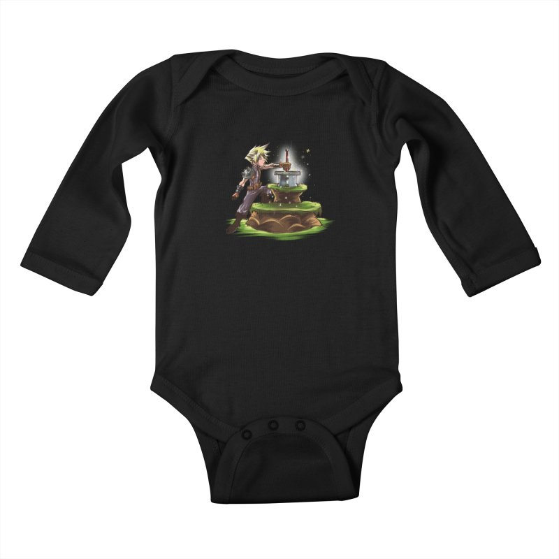 The Buster Sword in the Stone Kids Baby Longsleeve Bodysuit by Alberto Arni's Artist Shop