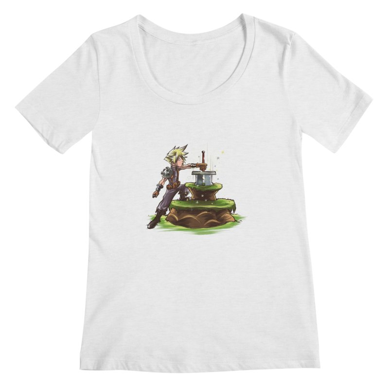The Buster Sword in the Stone Women's Scoopneck by Alberto Arni's Artist Shop