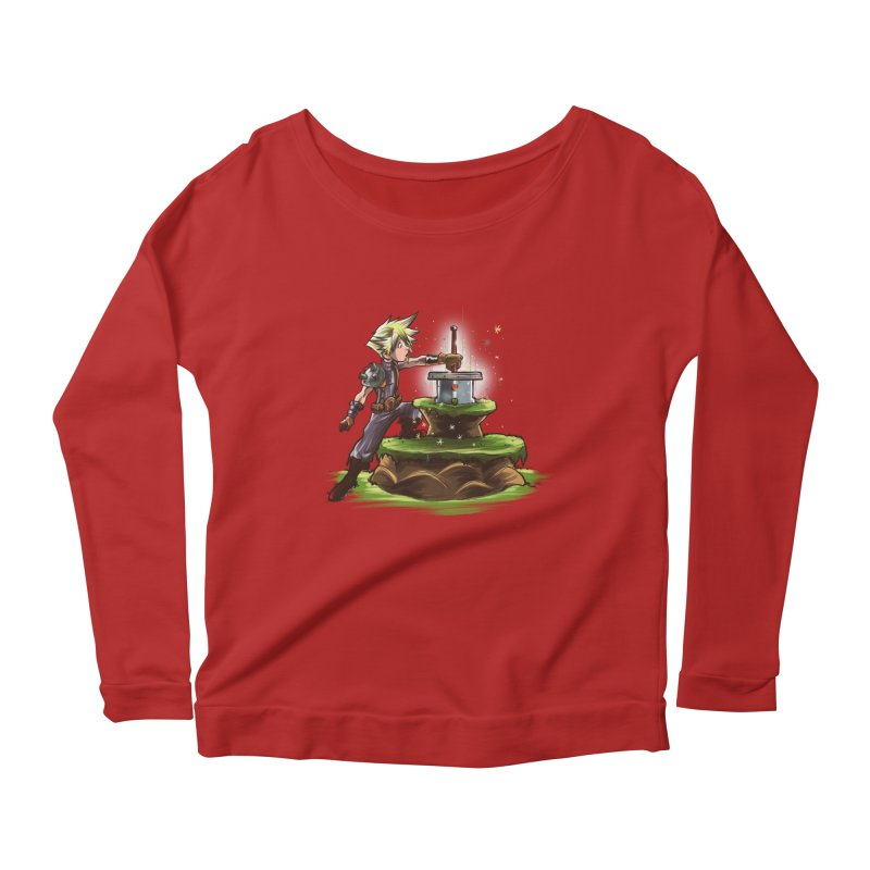 The Buster Sword in the Stone Women's Longsleeve Scoopneck  by Alberto Arni's Artist Shop