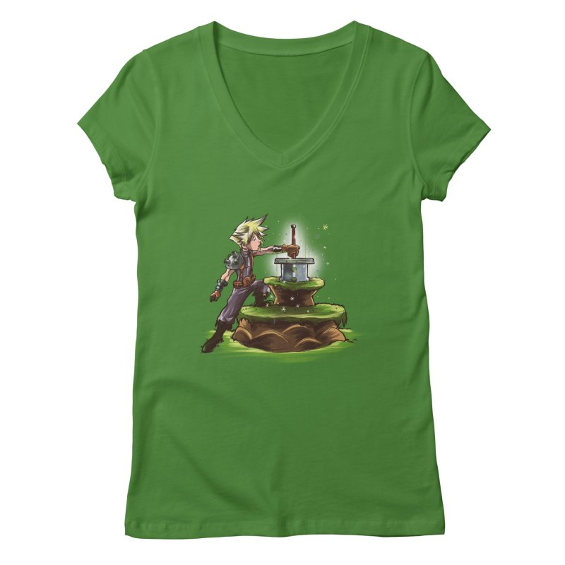 The Buster Sword in the Stone Women's V-Neck by Alberto Arni's Artist Shop