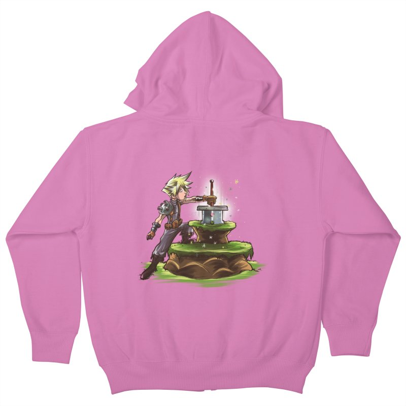The Buster Sword in the Stone Kids Zip-Up Hoody by Alberto Arni's Artist Shop