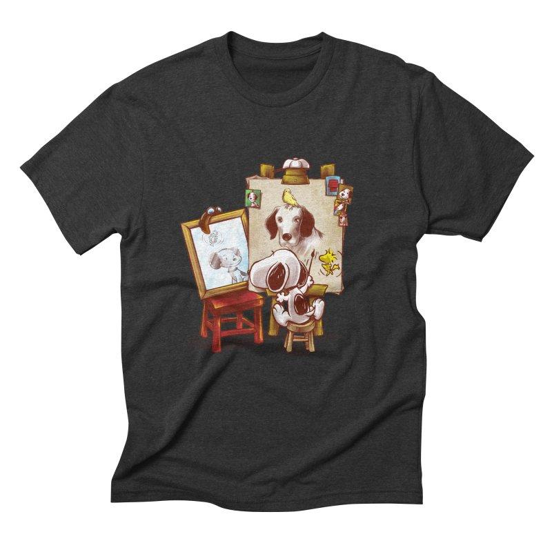 Triple Beagle Portrait Men's Triblend T-Shirt by Alberto Arni's Artist Shop