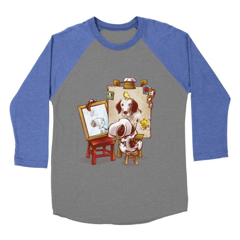 Triple Beagle Portrait Women's Baseball Triblend T-Shirt by Alberto Arni's Artist Shop