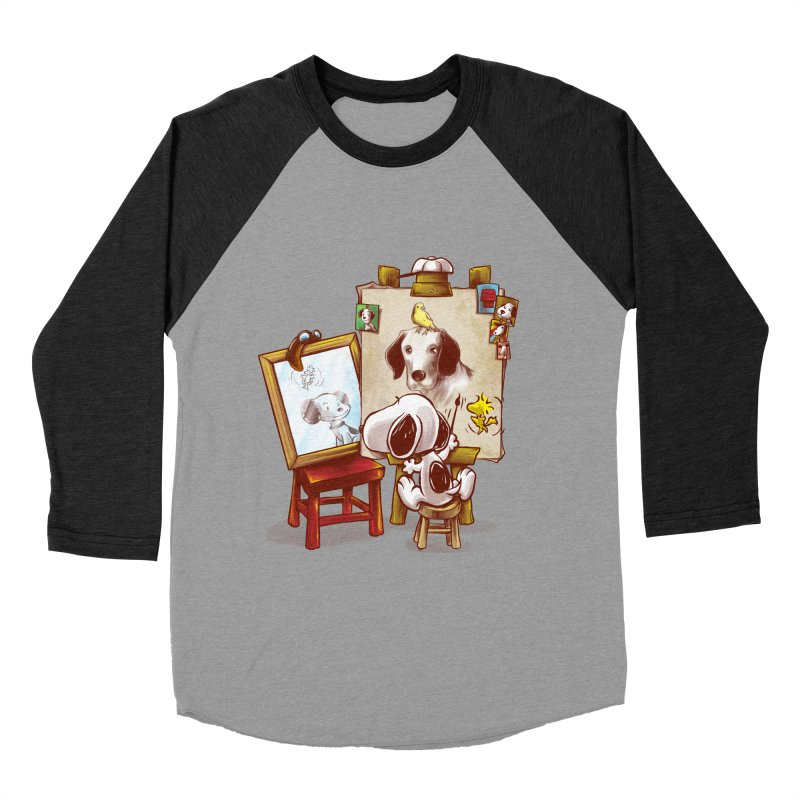 Triple Beagle Portrait Women's Baseball Triblend T-Shirt by Alberto Arni's Artist Shop