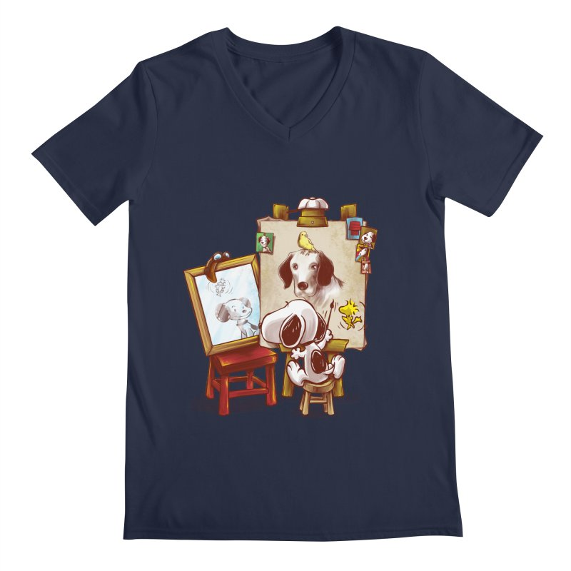 Triple Beagle Portrait Men's V-Neck by Alberto Arni's Artist Shop