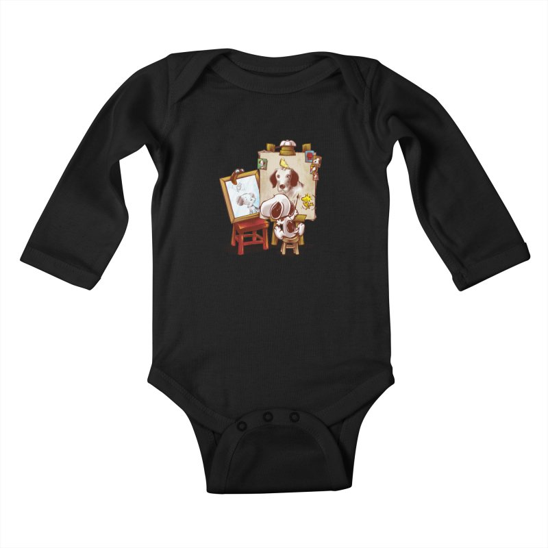 Triple Beagle Portrait Kids Baby Longsleeve Bodysuit by Alberto Arni's Artist Shop