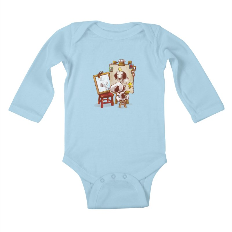 Triple Beagle Portrait Kids Baby Longsleeve Bodysuit by Alberto Arni's Artist Shop
