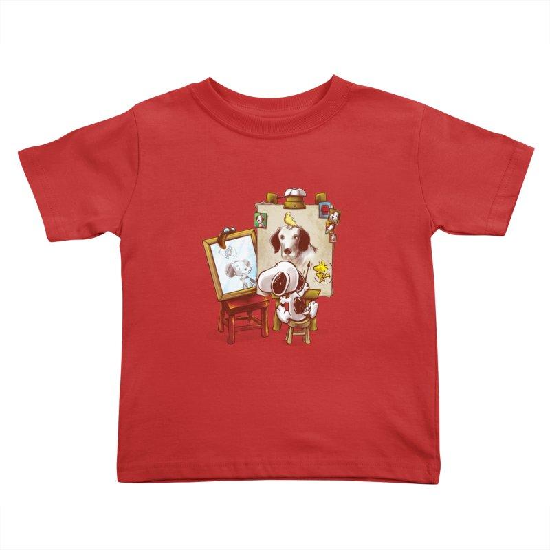 Triple Beagle Portrait Kids Toddler T-Shirt by Alberto Arni's Artist Shop