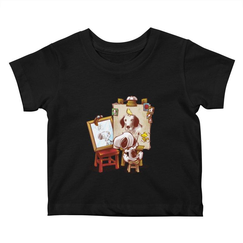 Triple Beagle Portrait Kids Baby T-Shirt by Alberto Arni's Artist Shop