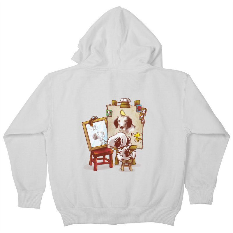 Triple Beagle Portrait Kids Zip-Up Hoody by Alberto Arni's Artist Shop