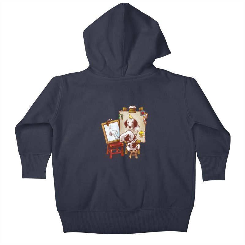 Triple Beagle Portrait Kids Baby Zip-Up Hoody by Alberto Arni's Artist Shop