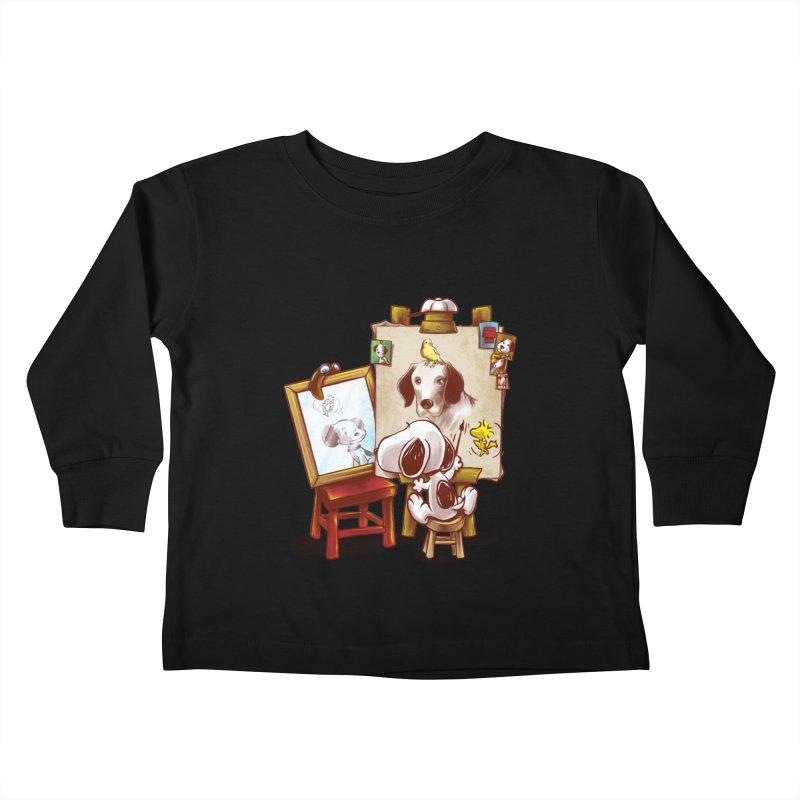 Triple Beagle Portrait Kids Toddler Longsleeve T-Shirt by Alberto Arni's Artist Shop